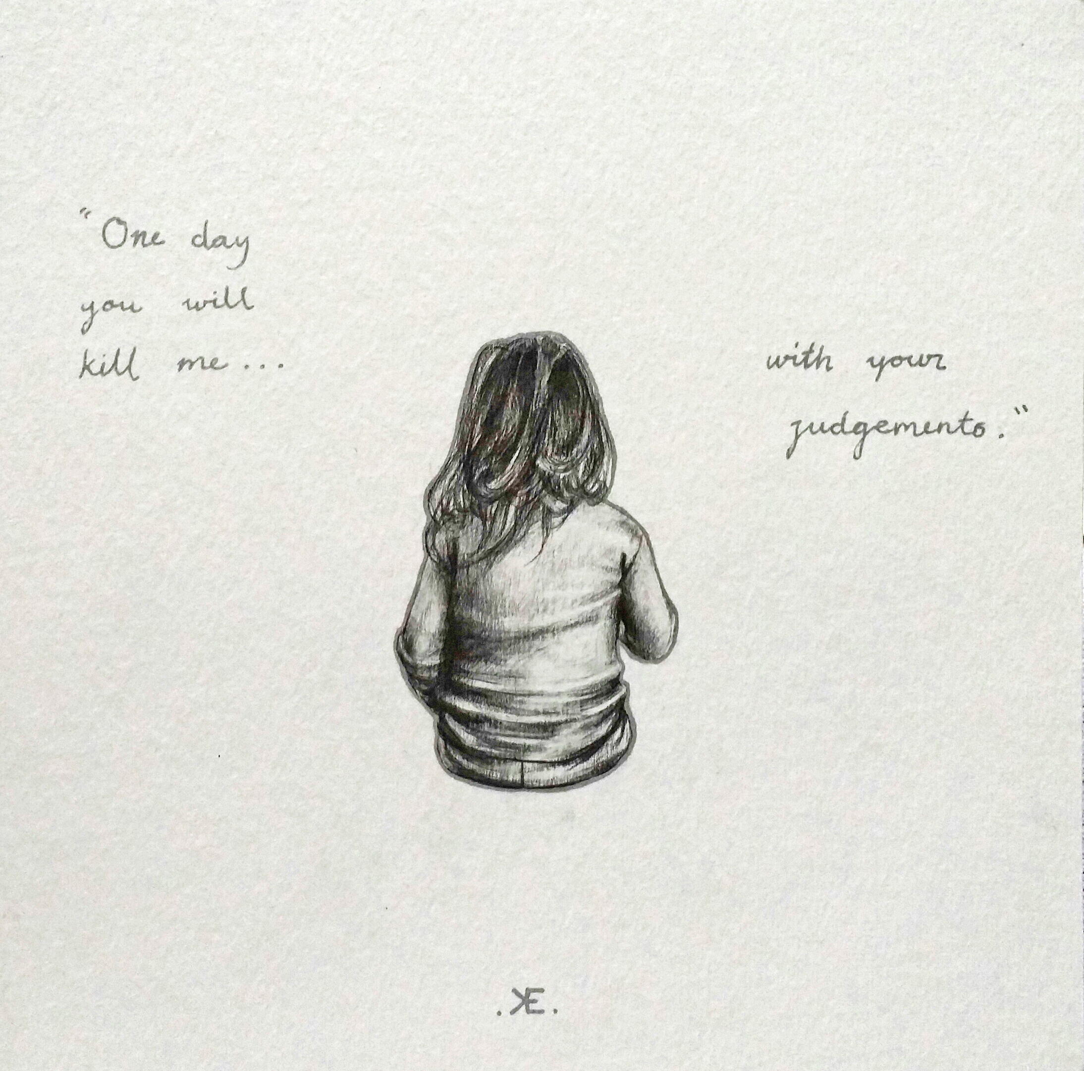 05.One Day You Kill Me With Your Judgements - Drawing on paper' 20x20cm, 2015