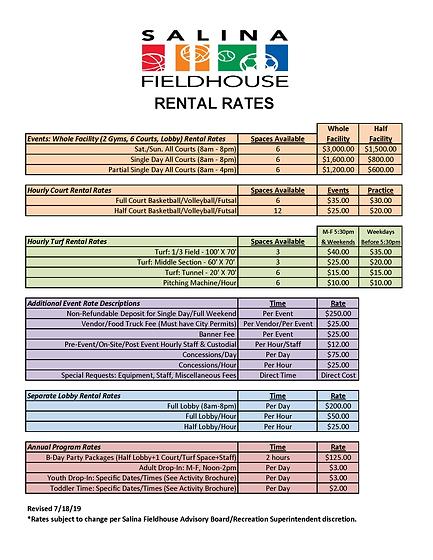 Salina Fieldhouse Rental Rates (July 201