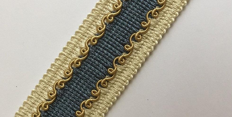 Blue - White - Gold - Flat Braid - Tape Trim