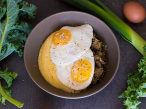 Parmesan Polenta, Buttered Leeks and Kale with Fried Egg