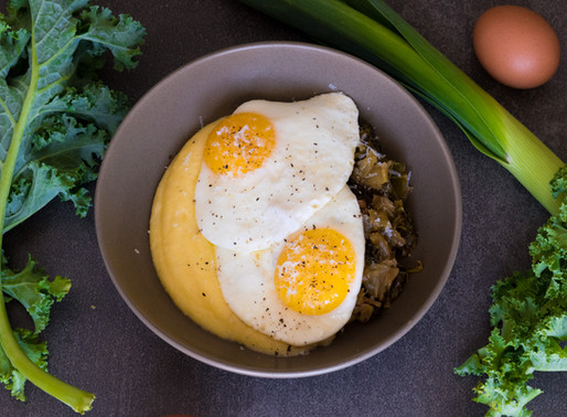 Parmesan Polenta, Buttered Leeks and Kale with Fried Egg