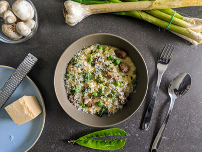 Spring Risotto with Sautéed Mushrooms, Peas and Mint