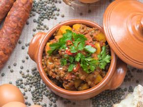 Chorizo, Spiced Butternut Squash and Lentil Stew `