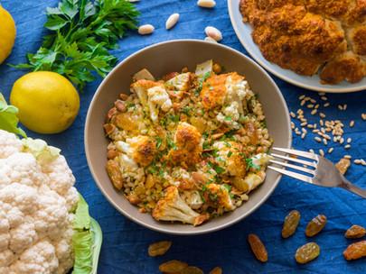 Barley Salad of Roast Cauliflower with Spiced Yoghurt Marinade, Peanuts and Sultanas