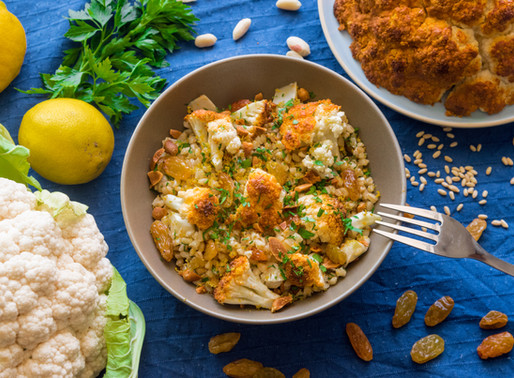 Barley Salad of Roast Cauliflower with Spiced Yoghurt Marinade, Peanuts and Sultanas