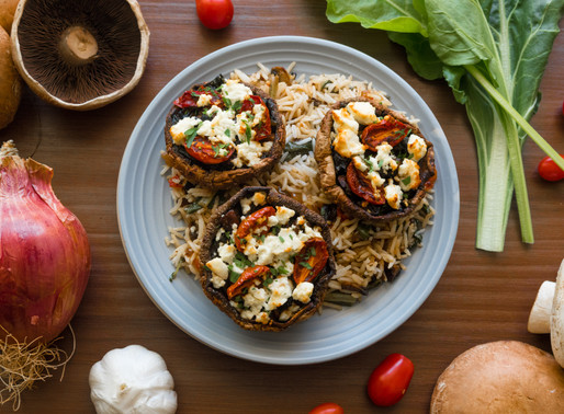 Stuffed Portobello Mushrooms with Chard, Blistered Cherry Tomatoes, Goat Cheese and Basmati