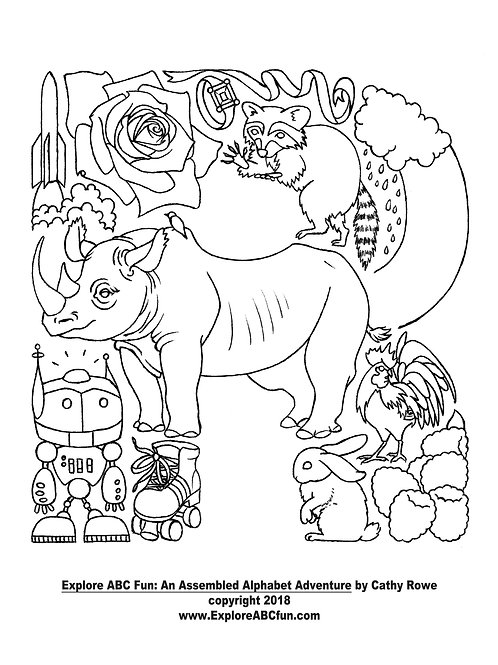 """Letter """"R"""" coloring page"""
