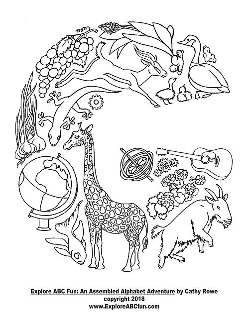 """Letter """"G"""" coloring page"""