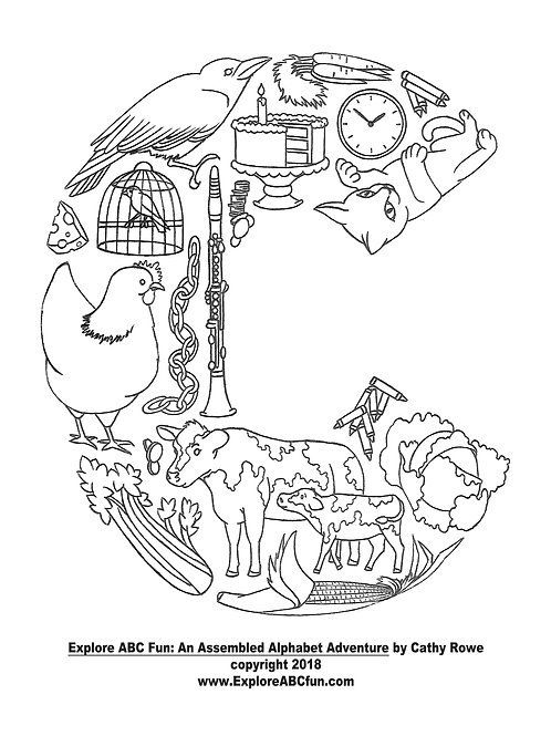 """Letter """"C"""" coloring page"""