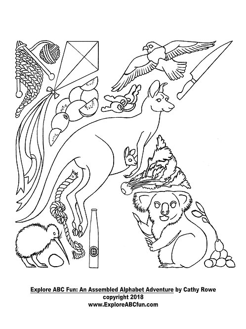"""Letter """"K"""" coloring page"""