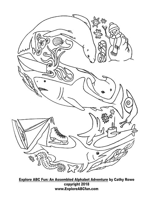 """Letter """"S"""" coloring page"""