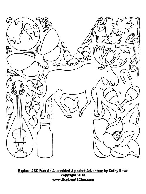 """Letter """"M"""" coloring page"""