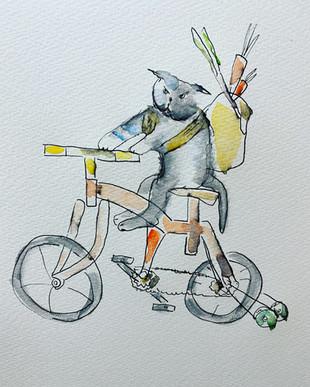 猫が自転車に