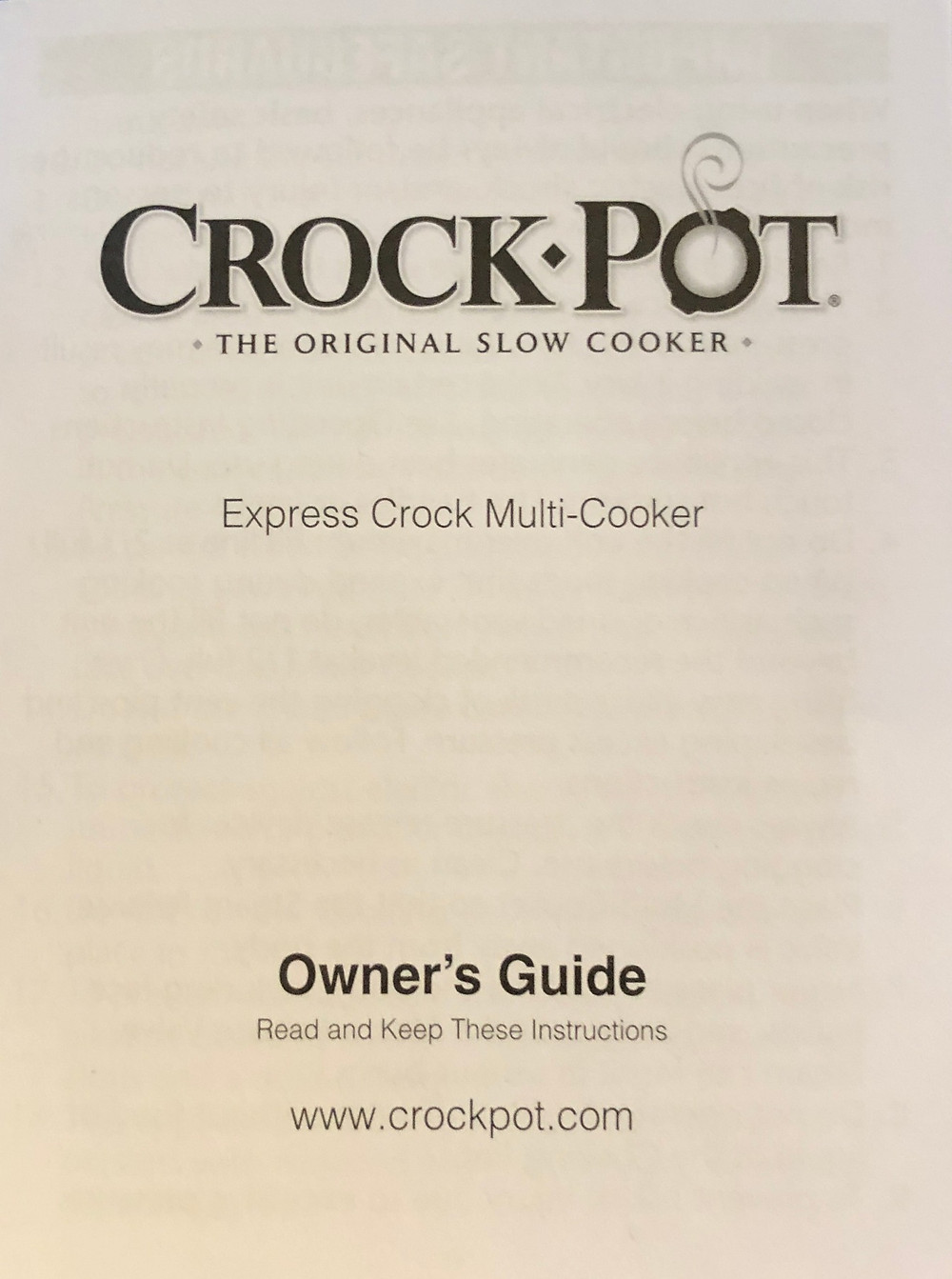 Crockpot Multicooker Pressure Cooker Manual
