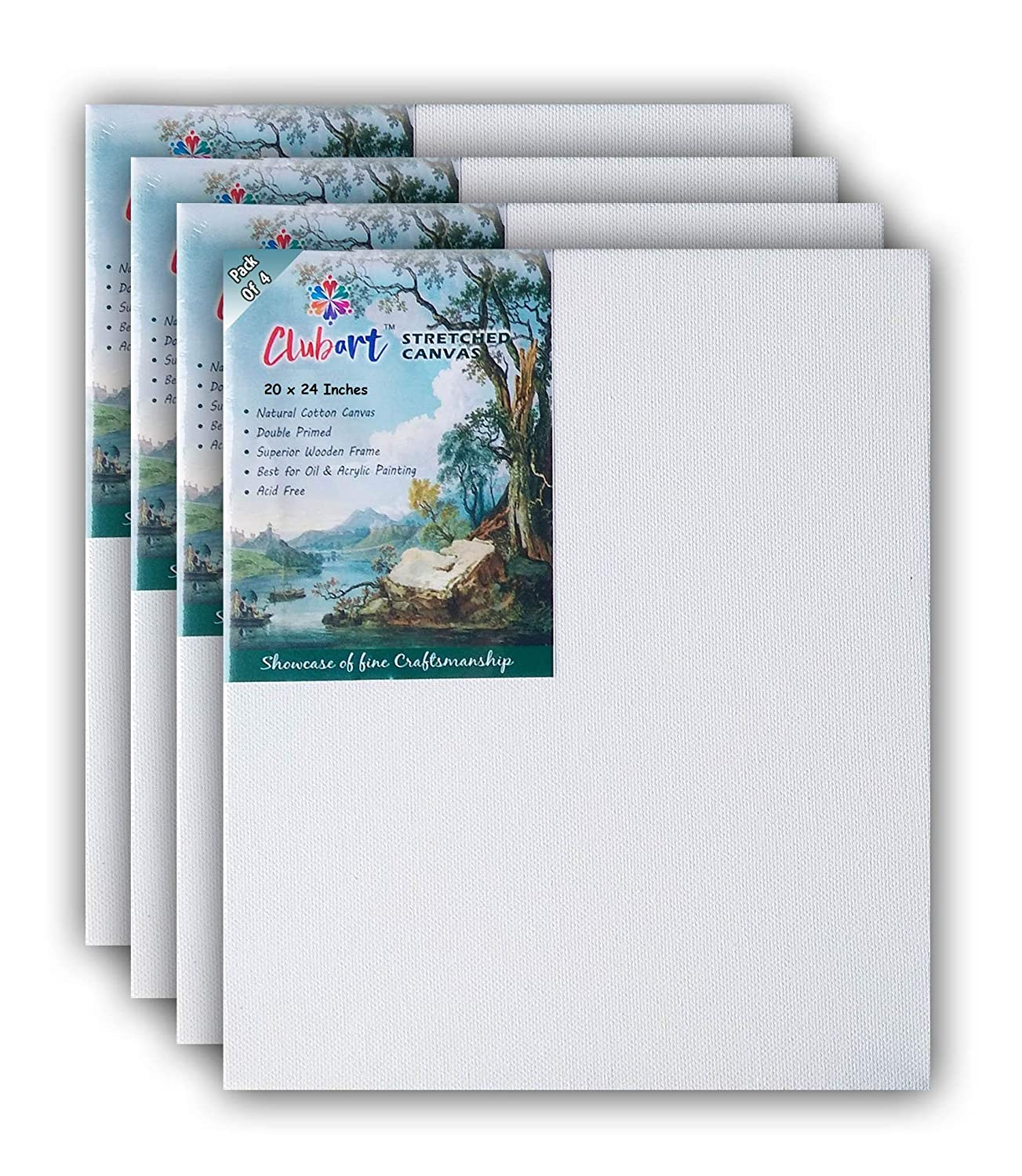 ClubArt Canvas Board for Painting (20 x 24 Inch) with Wooden Frame Primed Cotton Pre Stretched Canva