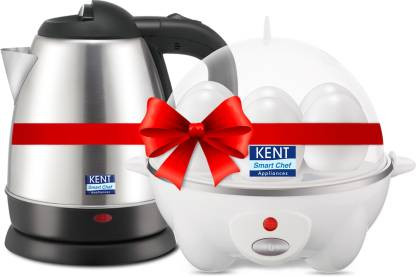 Kent 16056 & 16053 Electric Kettle with Egg Cooker  (1.2 L, Black, White)