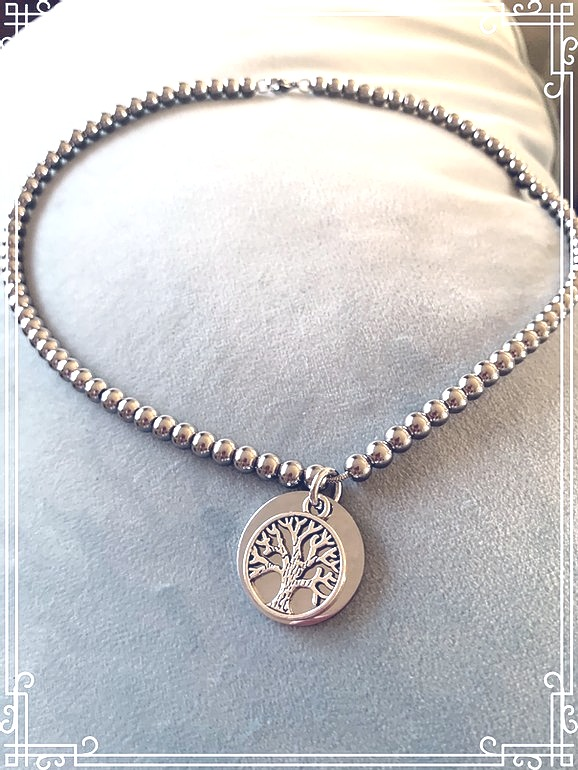 SS Beaded Tree of Life Necklace