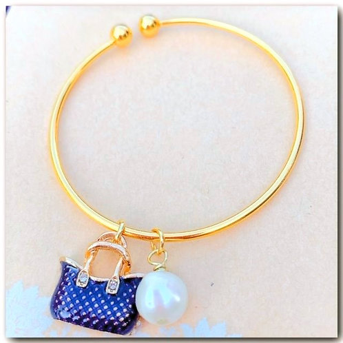 Cultured Pearl Charm Bracelet
