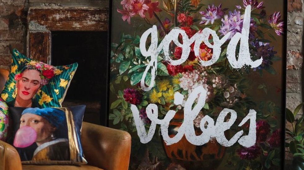 Good Vibes Floral Painting Altered Art Print