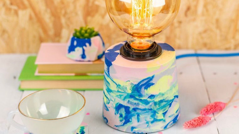 Jesmonite marbled table lamp with fabric cable and dimmer switch