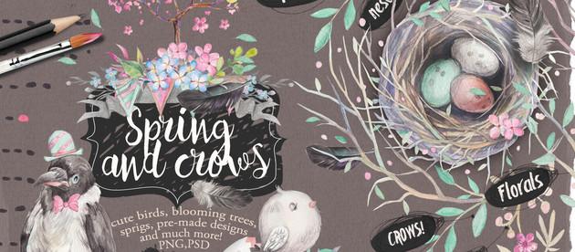 "watercolor bundle ""Spring and crow"""