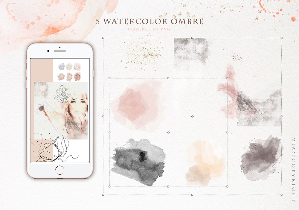 watercolor shapes and elements  PNG