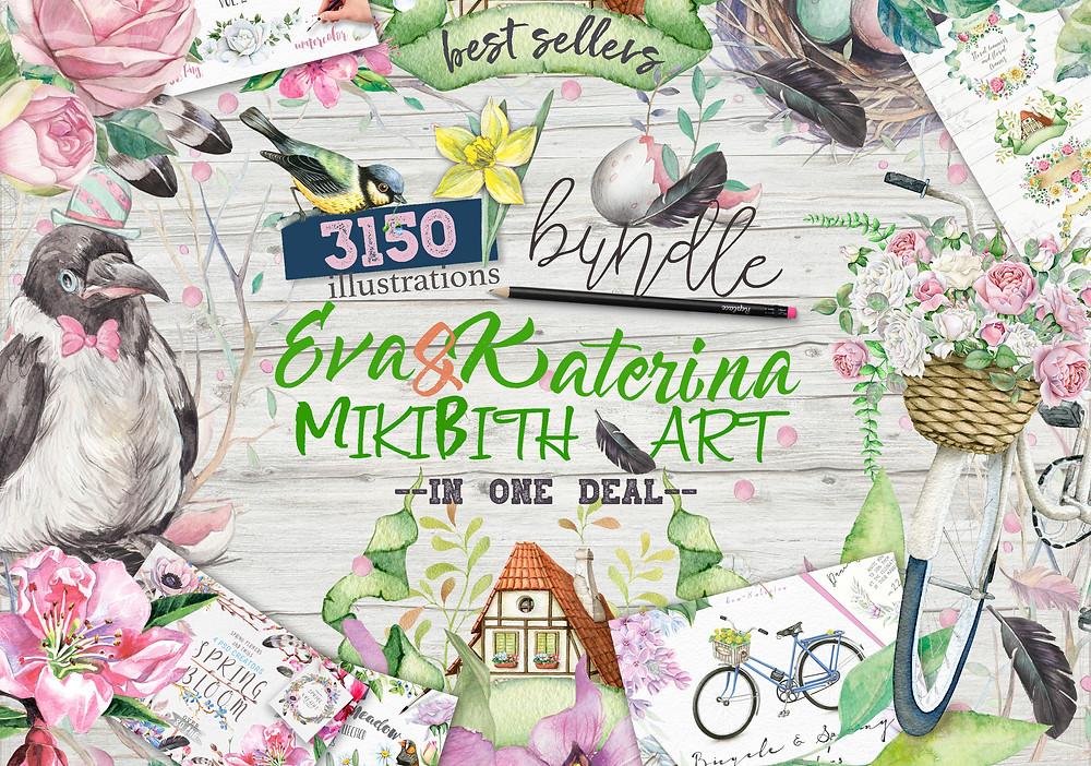 Watercolor bundle 3150 in 1