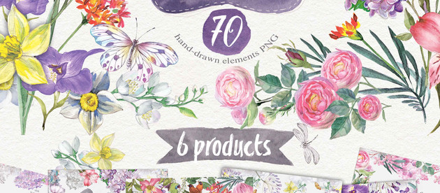 "Big bundle ""Watercolor flowers"" 6 products"
