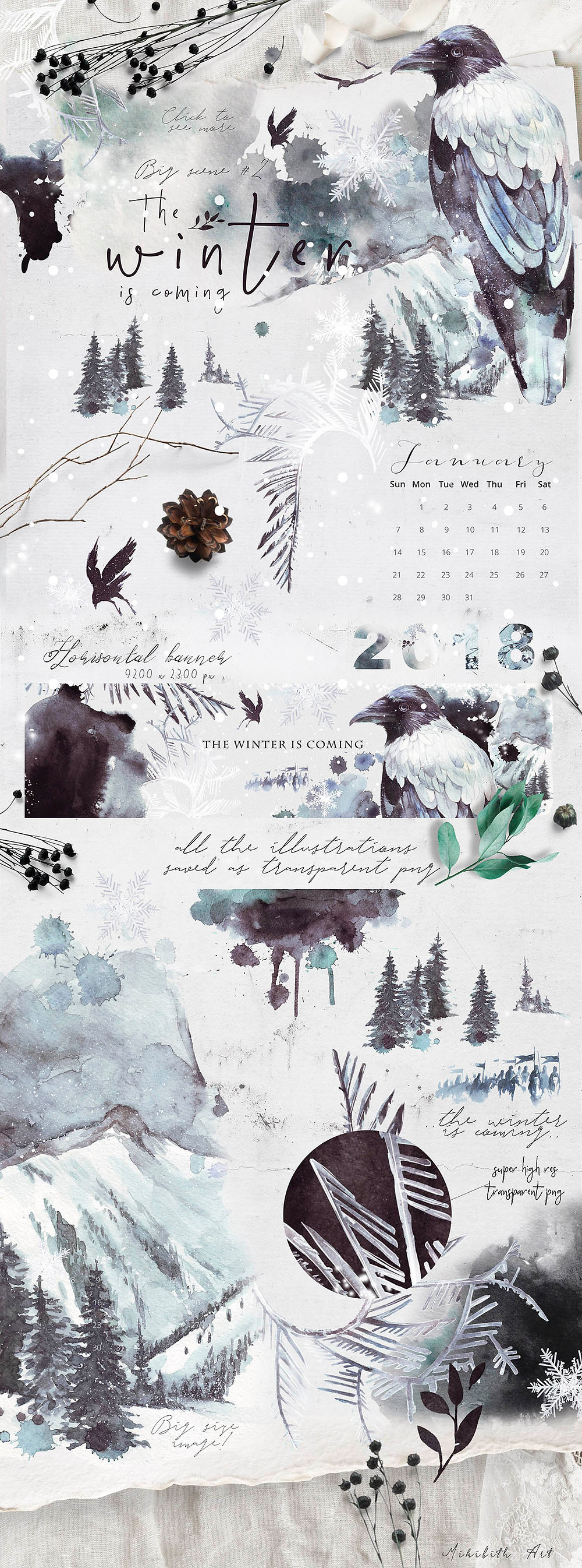 winter calendar crows
