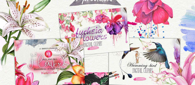 """New floral bundle """"Hello summer!"""" /+120 elements, 7 products! SAVE 90%!!!"""