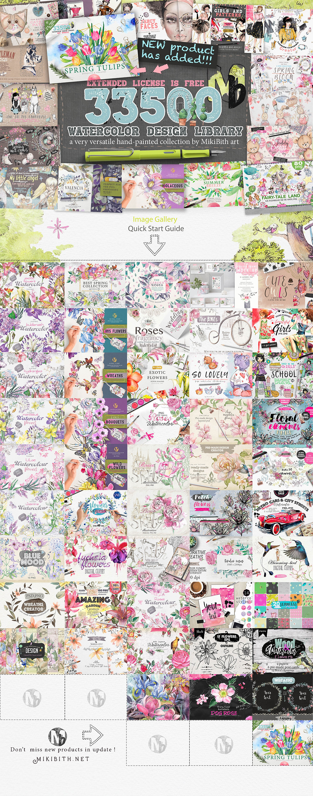 watercolor bundle 33,5 GB Mikibith art
