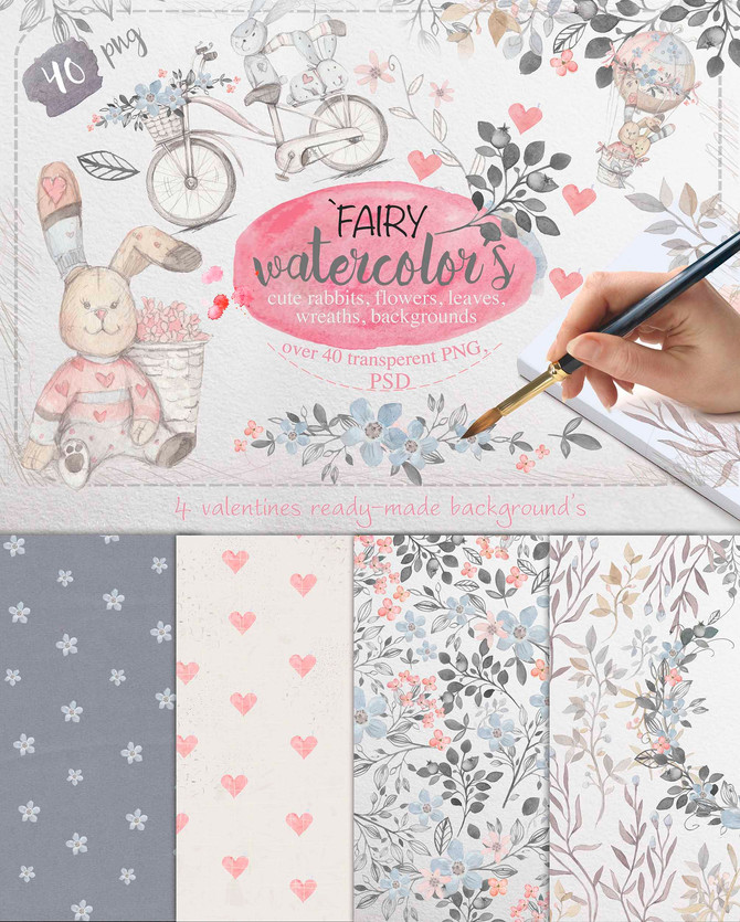Fairy watercolors Bundle