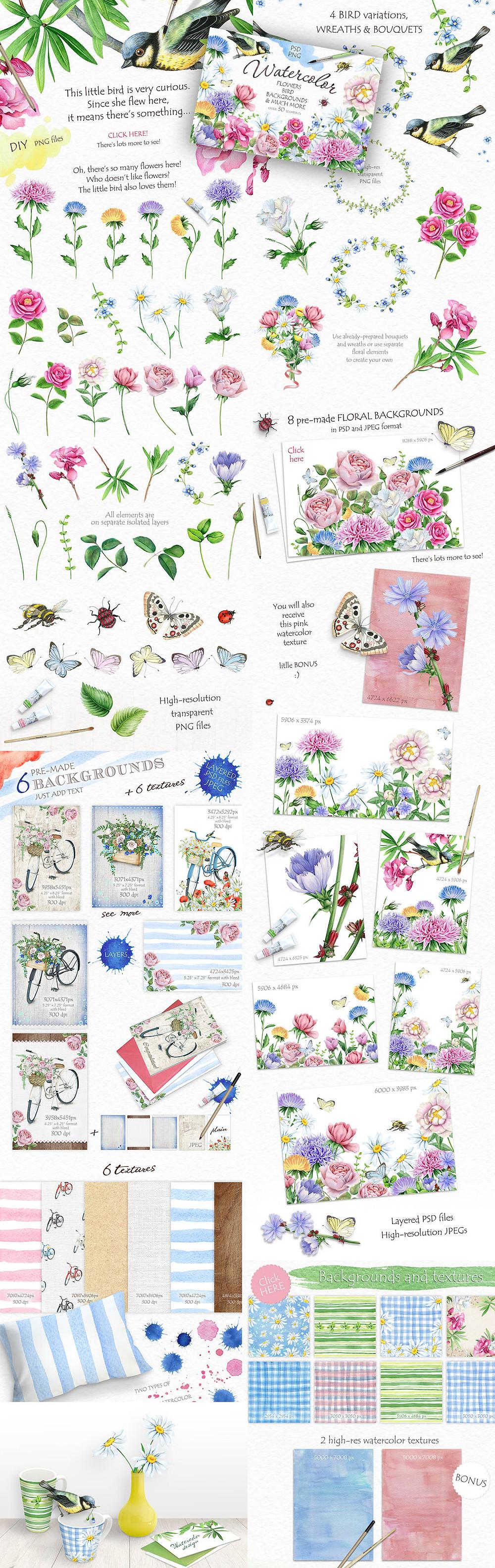 Watercolor flowers DIY