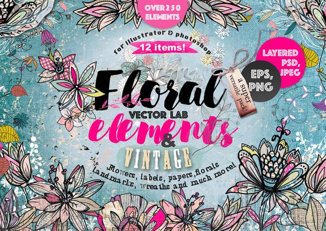 NEW!!!   VECTOR LAB 40% OFF! «FLORAL ELEMENTS & VINTAGE FLOWERS»