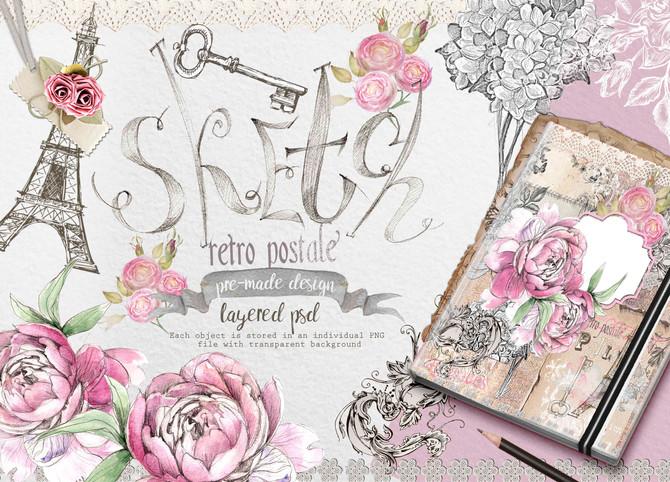 """vintage style watercolors """"Paris fragrance"""""""