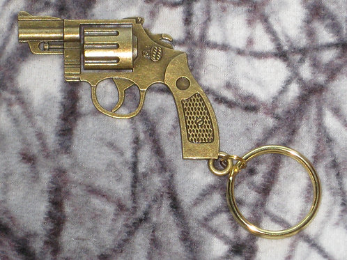 Large Metal Bronze Color Pistol Keychain-Double Sided (3D)
