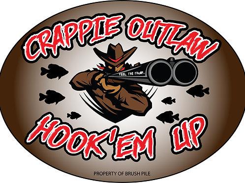 CRAPPIE OUTLAW decal/sticker - Brush Pile hunter orange rod straps
