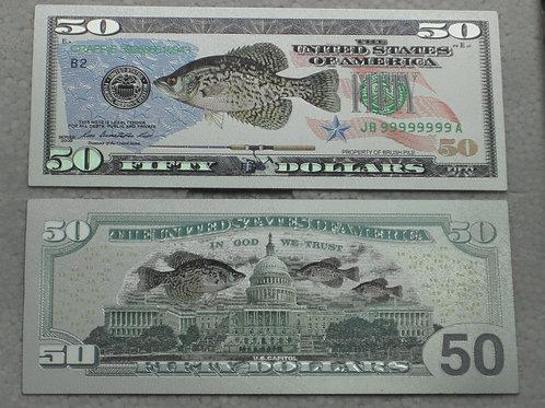 Custom Crappie Banknote $50.00 Bill