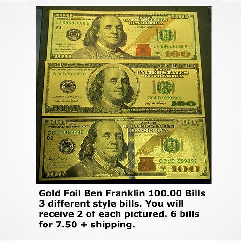 6- Gold Embossed Ben Franklin Banknote 100.00 Bills