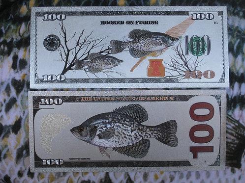 Custom Crappie Banknote 100.00 Bill...Bulk 20pcs.
