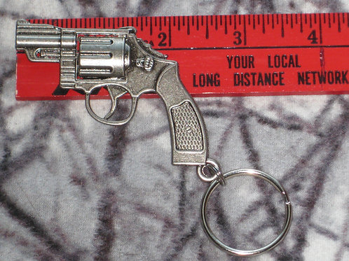 copy of Large Metal Nickle/Silver Color Pistol Keychain-Double Sided (3D)