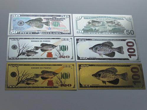 3 Custom Crappie Banknotes $50.00 100's ONE OF A KIND