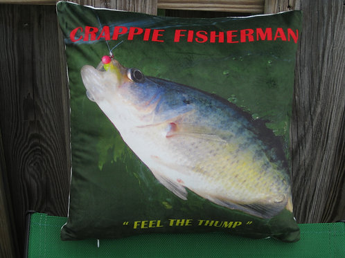 Crappie Fisherman Pillow Man Cave Novelty Item