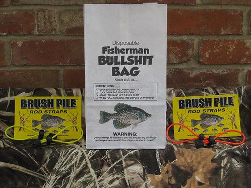 COMBO Pk: 1- BS Fisherman Bag, 2- Sets of Rod Straps, Neon yellow, Hunter Orange