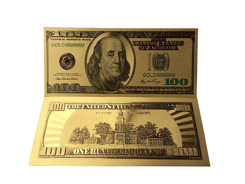 3- Gold Embossed Ben Franklin 100.00 Bill  COOL Looking.