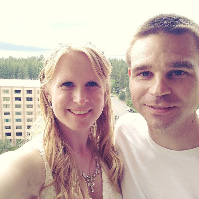 Officially Mr & Mrs! We made it to our hotel for the night in Tahoe! We have a beautiful view of the