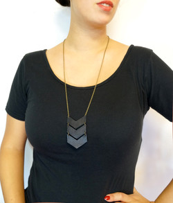 Black Leather Chevron Necklace