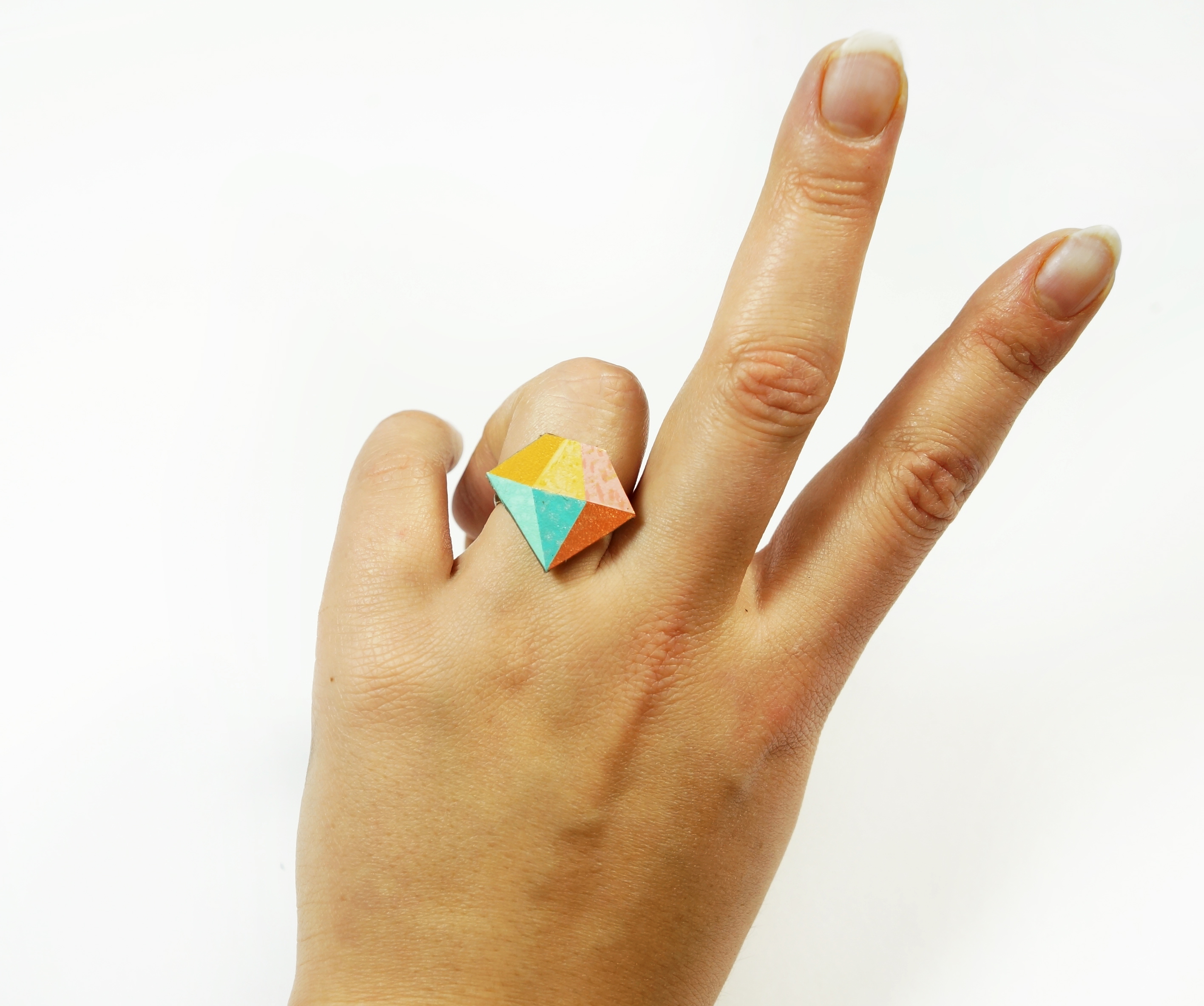 Pastel Leather Diamond Bling Ring