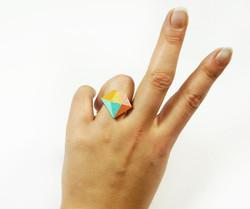 Pastel Leather Diamond Bling Ring
