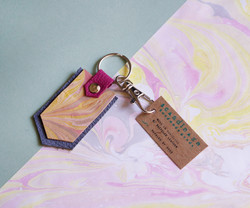 Marbled Leather Keychain